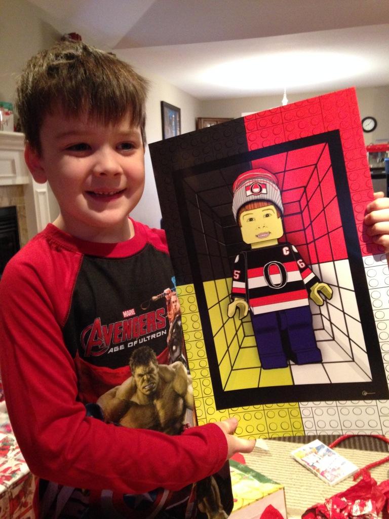 Thomas meet LEGO Thomas - Opening the Poster on Christmas Day